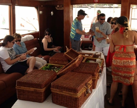 family reunion picnic baskets aboard charter yacht Mizner's Dream